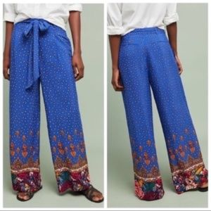 Ett Twa Blue Motif Printed Wide Leg Trousers